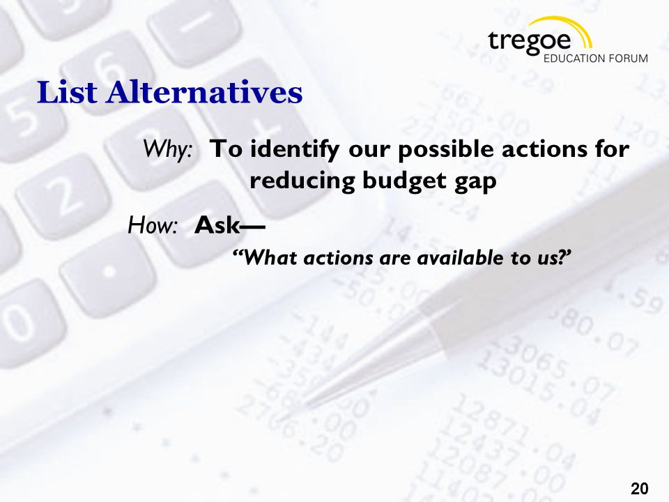 20 List Alternatives Why:To identify our possible actions for reducing budget gap How:Ask— What actions are available to us '