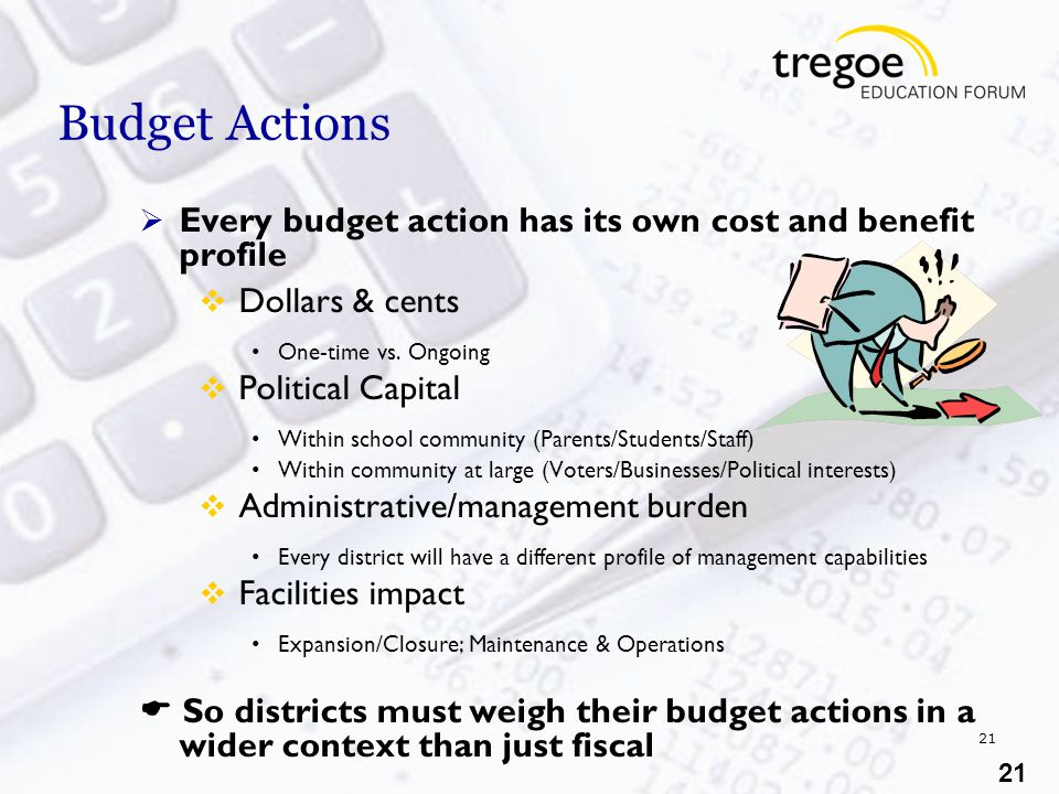 21 Budget Actions  Every budget action has its own cost and benefit profile  Dollars & cents One-time vs.