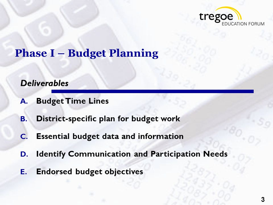 3 Phase I – Budget Planning Deliverables A. Budget Time Lines B.