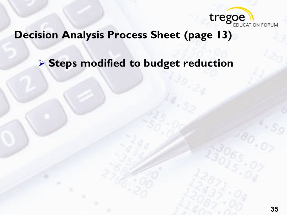 35 Decision Analysis Process Sheet (page 13)  Steps modified to budget reduction