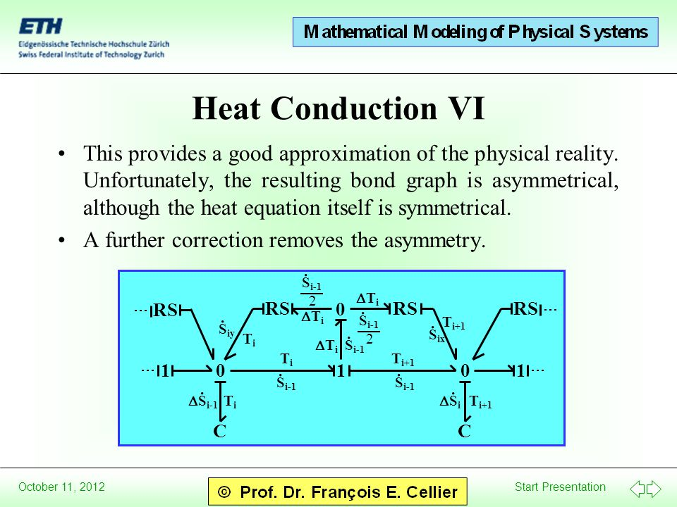 Start Presentation October 11, 2012 Heat Conduction VI This provides a good approximation of the physical reality. Unfortunately, the resulting bond g