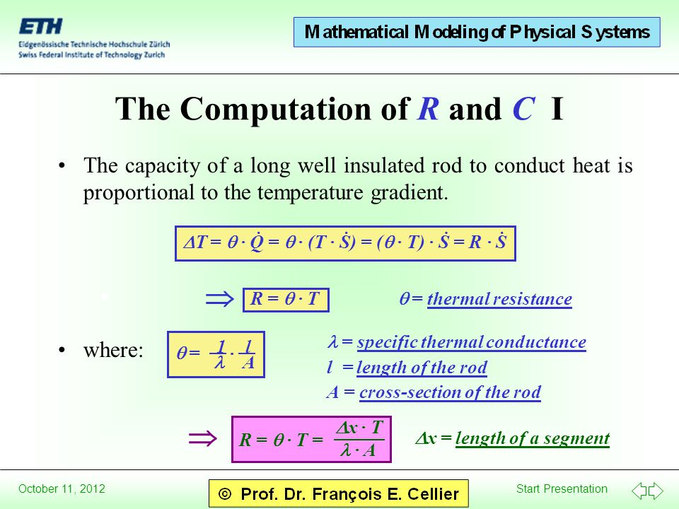 Start Presentation October 11, 2012 The Computation of R and C I The capacity of a long well insulated rod to conduct heat is proportional to the temperature gradient.