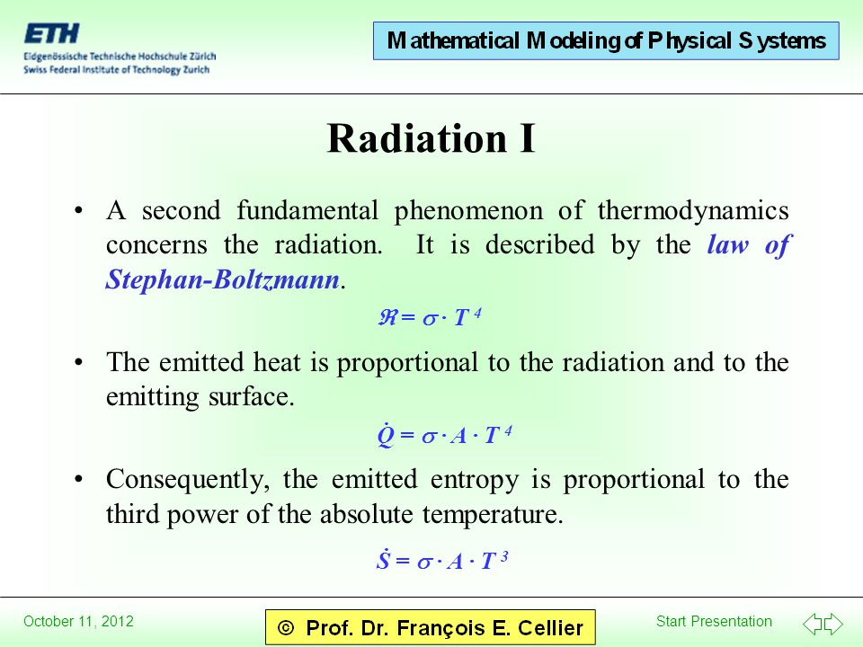 Start Presentation October 11, 2012 Radiation I A second fundamental phenomenon of thermodynamics concerns the radiation. It is described by the law o