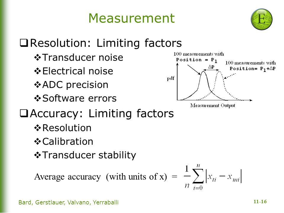 11-16 Measurement  Resolution: Limiting factors  Transducer noise  Electrical noise  ADC precision  Software errors  Accuracy: Limiting factors  Resolution  Calibration  Transducer stability Average accuracy (with units of x) = Bard, Gerstlauer, Valvano, Yerraballi