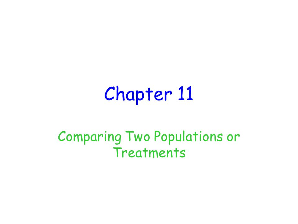 Chapter 11 Comparing Two Populations or Treatments