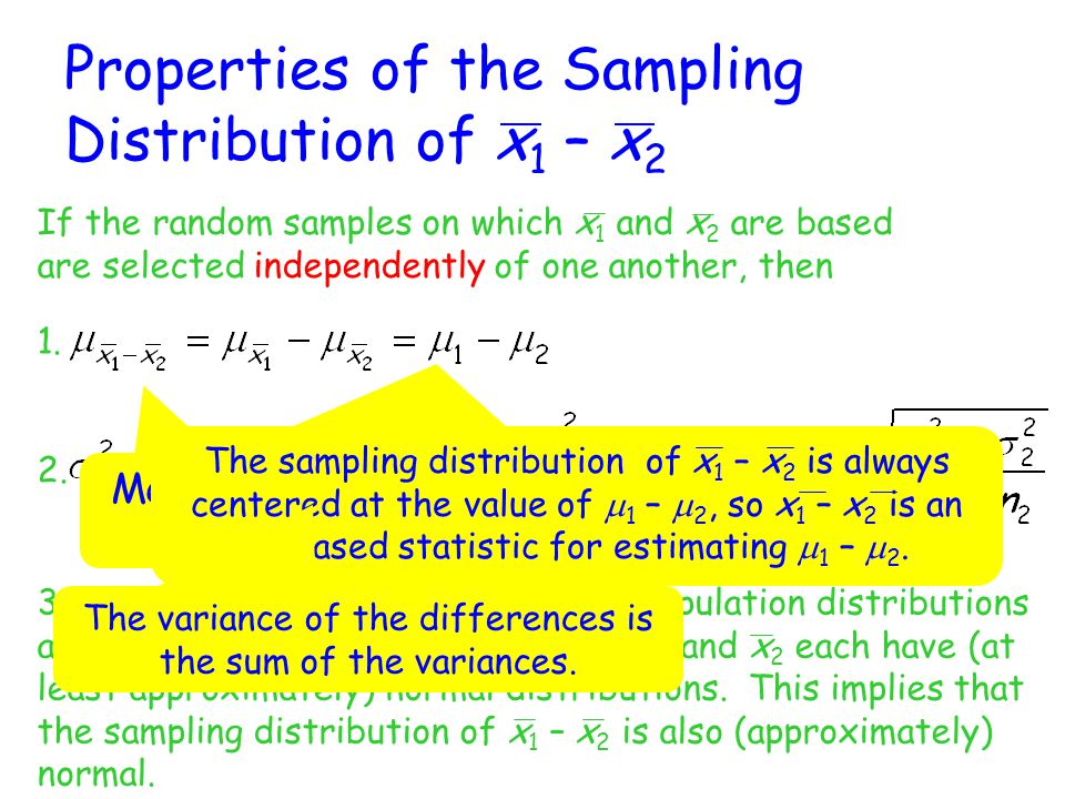 The properties for the sampling distribution of x 1 – x 2 implies that x 1 – x 2 can be standardized to obtain a variable with a sampling distribution that is approximately the standard normal (z) distribution.