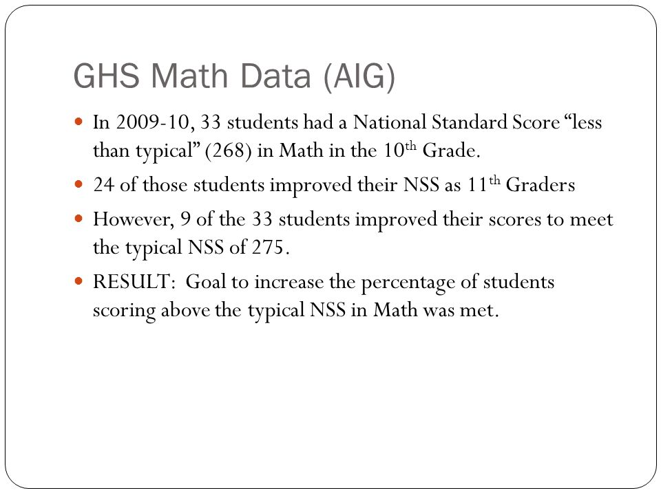 Math: Less Than Typical NSS