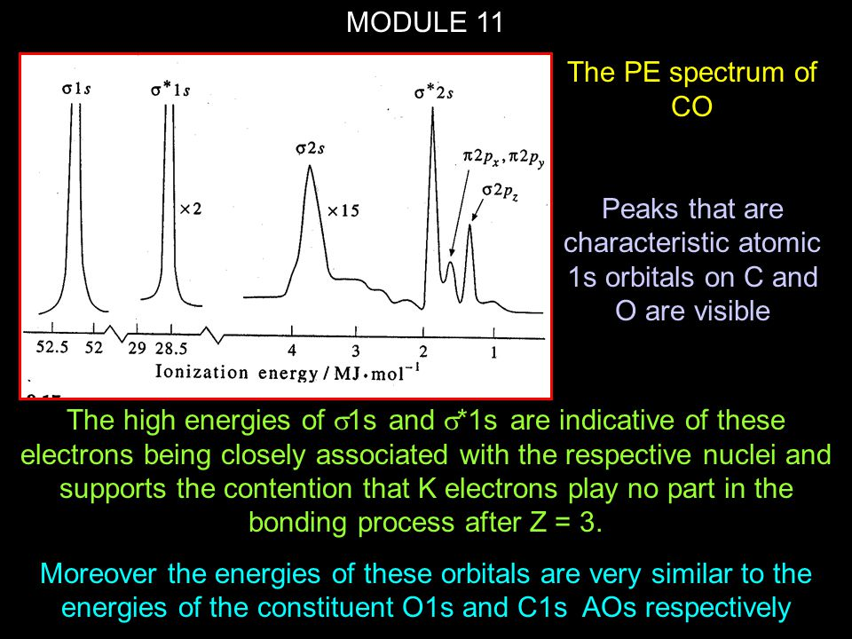 MODULE 11 The high energies of  1s and  *1s are indicative of these electrons being closely associated with the respective nuclei and supports the c