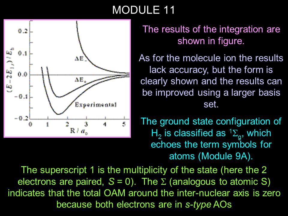 MODULE 11 Whereas for atoms we used L = l 1 +l 2, etc to compute the total OAM, in molecules we use  = 1 + 2 to compute the total OAM In H 2,  = 0, hence .