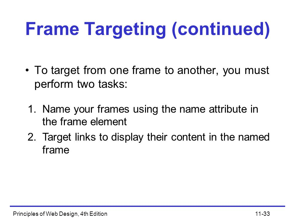 Principles of Web Design, 4th Edition11-33 Frame Targeting (continued) To target from one frame to another, you must perform two tasks: 1.Name your frames using the name attribute in the frame element 2.Target links to display their content in the named frame