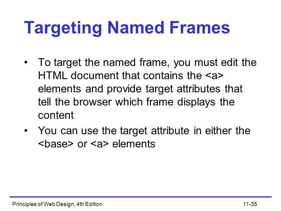 Principles of Web Design, 4th Edition11-35 Targeting Named Frames To target the named frame, you must edit the HTML document that contains the element