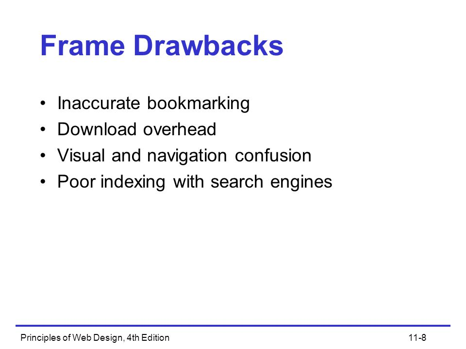 Principles of Web Design, 4th Edition11-8 Frame Drawbacks Inaccurate bookmarking Download overhead Visual and navigation confusion Poor indexing with