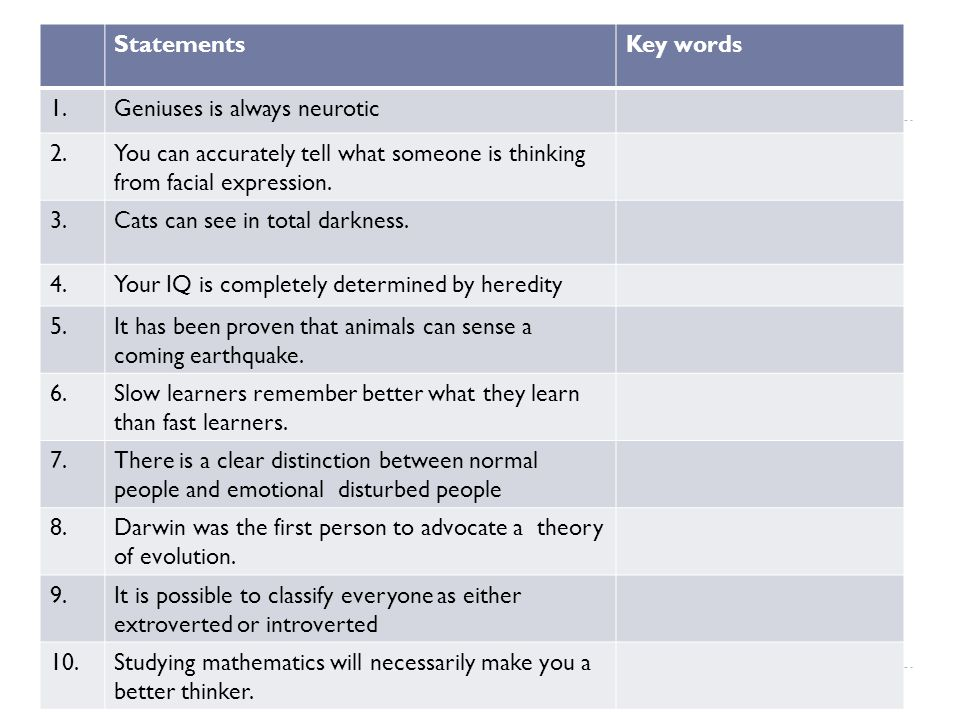 StatementsKey words 1.Geniuses is always neurotic 2.You can accurately tell what someone is thinking from facial expression. 3.Cats can see in total d