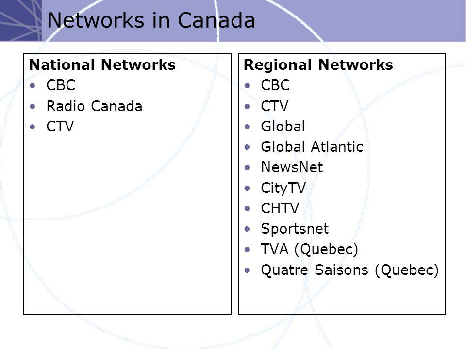 Networks in Canada National Networks CBC Radio Canada CTV Regional Networks CBC CTV Global Global Atlantic NewsNet CityTV CHTV Sportsnet TVA (Quebec) Quatre Saisons (Quebec)