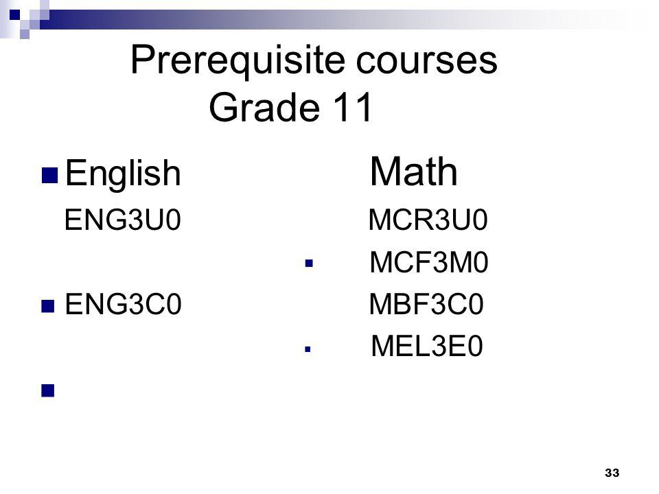 Prerequisite courses Grade 11 English Math ENG3U0 MCR3U0  MCF3M0 ENG3C0 MBF3C0  MEL3E0 33