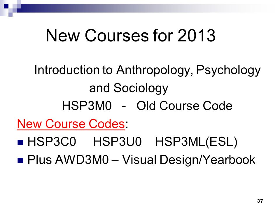 New Courses for 2013 Introduction to Anthropology, Psychology and Sociology HSP3M0 - Old Course Code New Course Codes: HSP3C0 HSP3U0 HSP3ML(ESL) Plus AWD3M0 – Visual Design/Yearbook 37