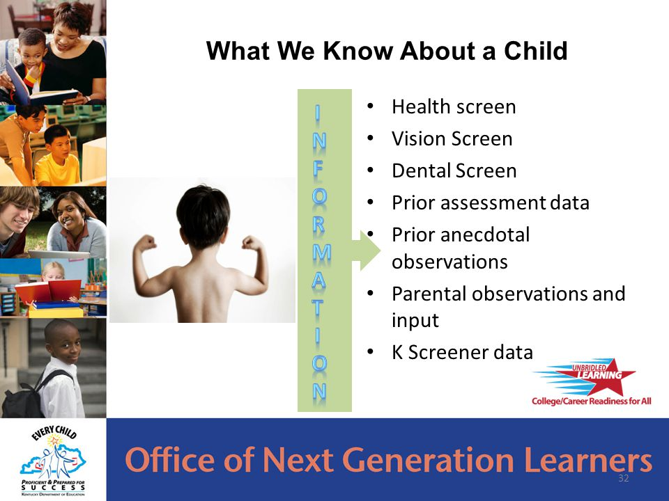 32 What We Know About a Child Health screen Vision Screen Dental Screen Prior assessment data Prior anecdotal observations Parental observations and input K Screener data