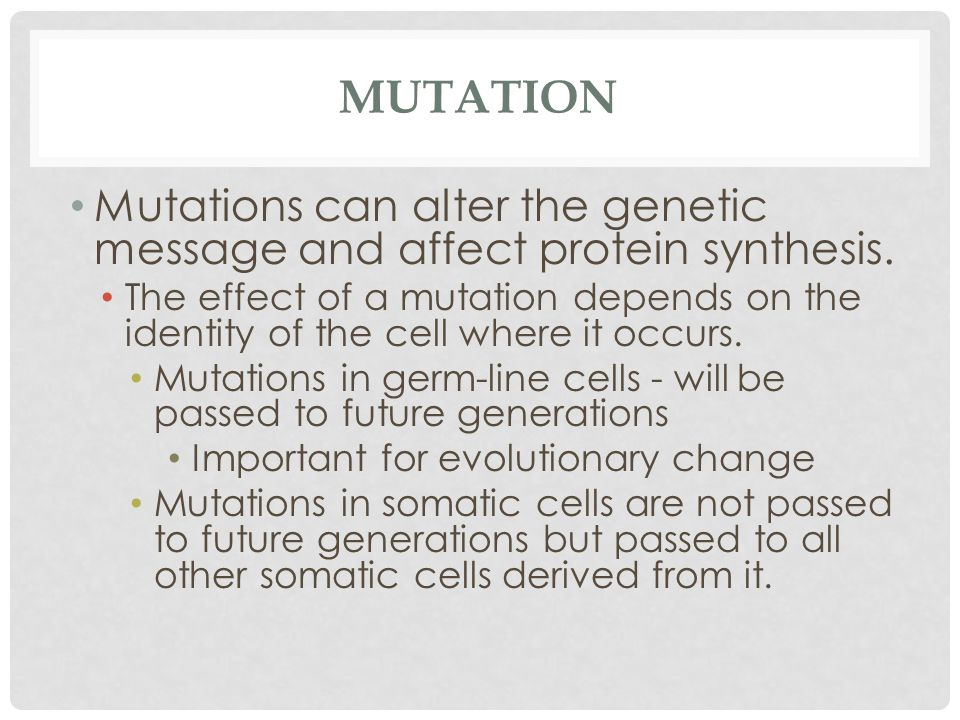MUTATION Mutations can alter the genetic message and affect protein synthesis.