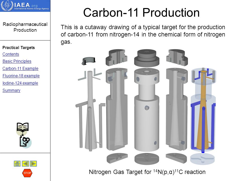Radiopharmaceutical Production Practical Targets Contents Basic Principles Carbon-11 Example Fluorine-18 example Iodine-124 example Summary STOP Carbon-11 Production The next option to be considered is the Nitrogen Gas Target for 14 N(p,α) 11 C reaction.
