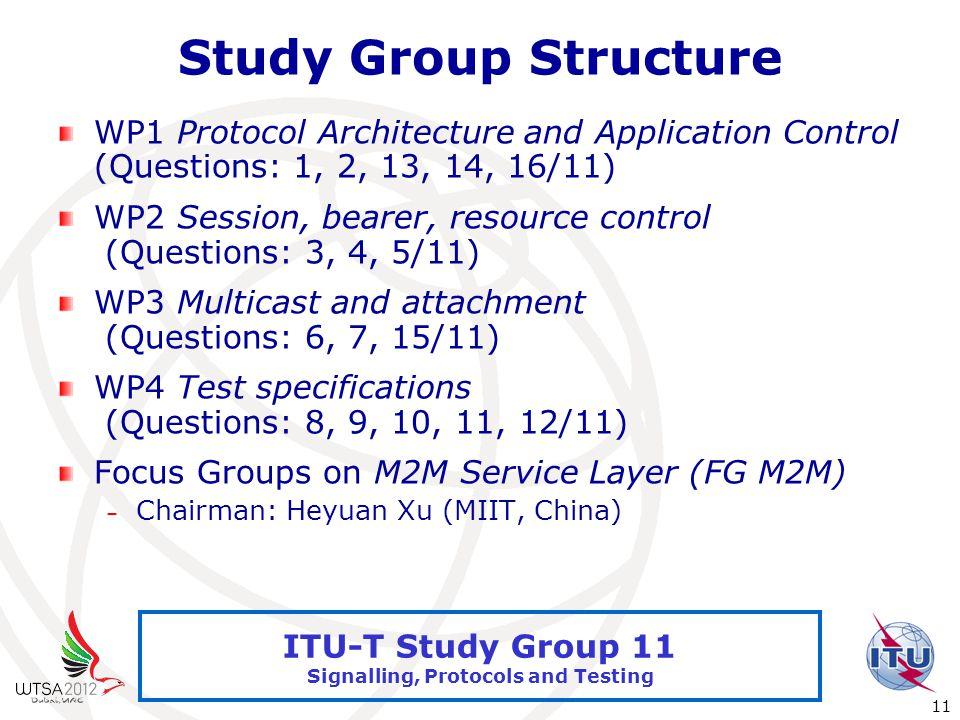 International Telecommunication Union 11 ITU-T Study Group 11 Signalling, Protocols and Testing Study Group Structure WP1 Protocol Architecture and Application Control (Questions: 1, 2, 13, 14, 16/11) WP2 Session, bearer, resource control (Questions: 3, 4, 5/11) WP3 Multicast and attachment (Questions: 6, 7, 15/11) WP4 Test specifications (Questions: 8, 9, 10, 11, 12/11) Focus Groups on M2M Service Layer (FG M2M) – Chairman: Heyuan Xu (MIIT, China)