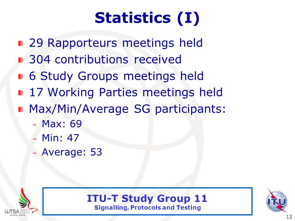 International Telecommunication Union 12 ITU-T Study Group 11 Signalling, Protocols and Testing Statistics (I) 29 Rapporteurs meetings held 304 contributions received 6 Study Groups meetings held 17 Working Parties meetings held Max/Min/Average SG participants: – Max: 69 – Min: 47 – Average: 53