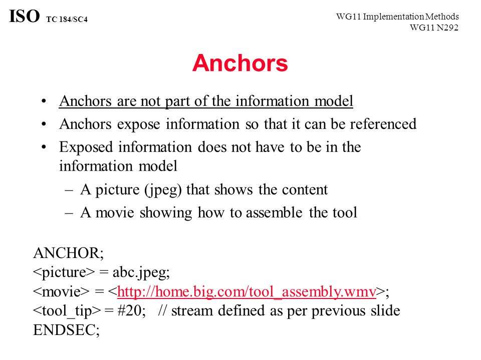 WG11 Implementation Methods WG11 N292 ISO TC 184/SC4 Anchors Anchors are not part of the information model Anchors expose information so that it can be referenced Exposed information does not have to be in the information model –A picture (jpeg) that shows the content –A movie showing how to assemble the tool ANCHOR; = abc.jpeg; = ;http://home.big.com/tool_assembly.wmv = #20; // stream defined as per previous slide ENDSEC;
