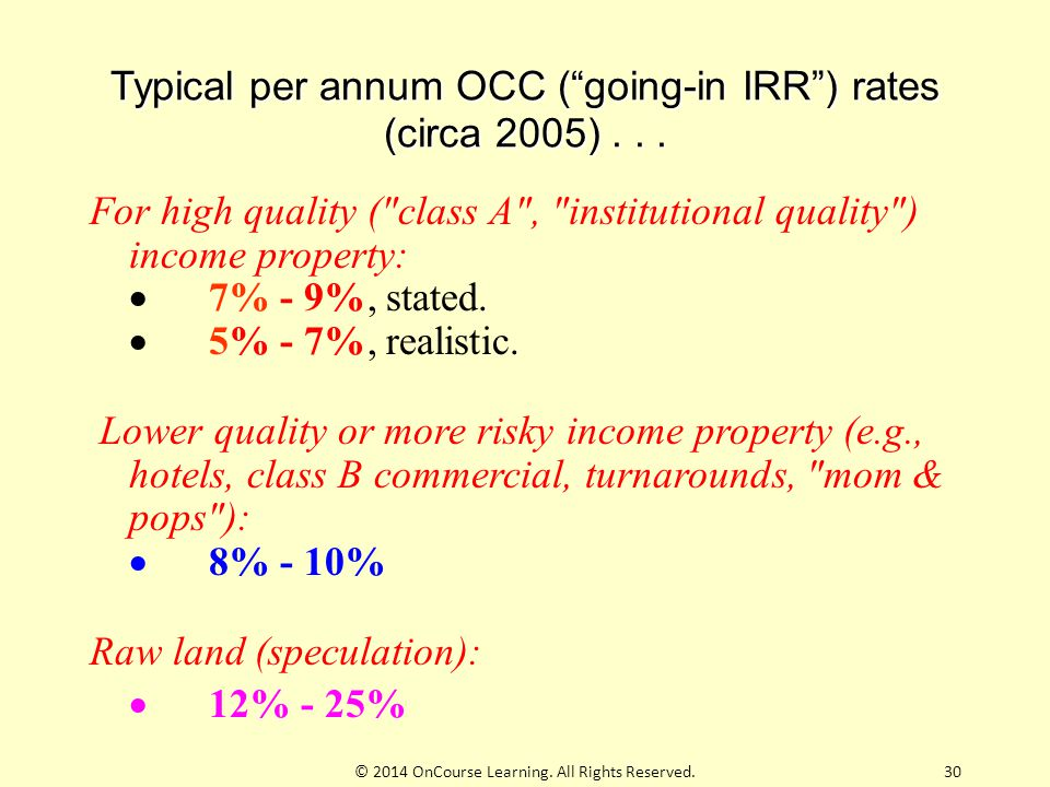 """Typical per annum OCC (""""going-in IRR"""") rates (circa 2005)... For high quality ("""