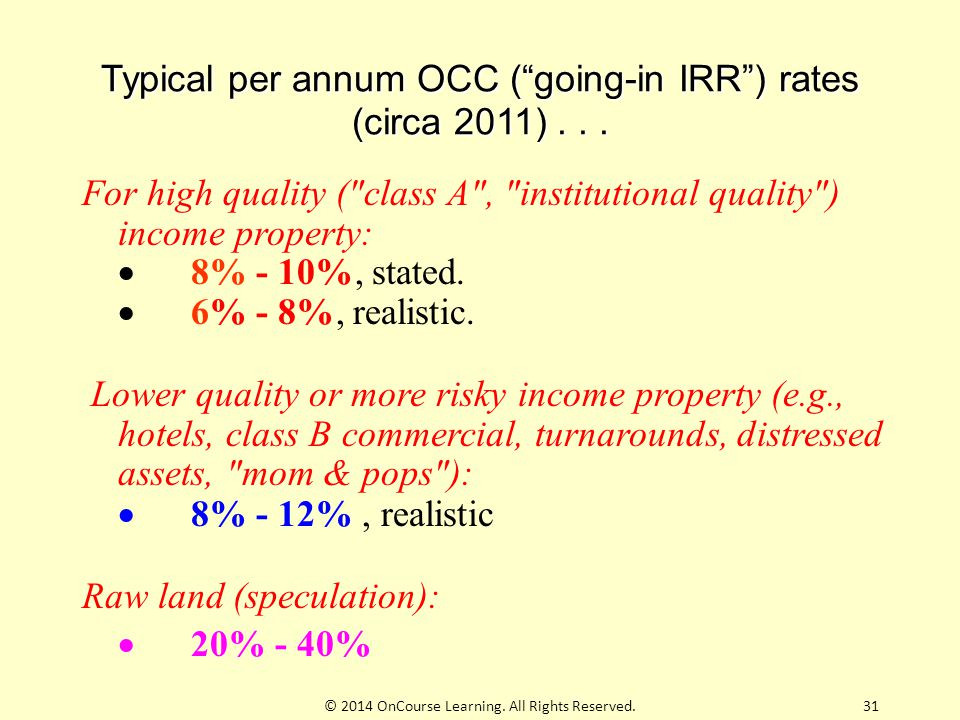 """Typical per annum OCC (""""going-in IRR"""") rates (circa 2011)... For high quality ("""