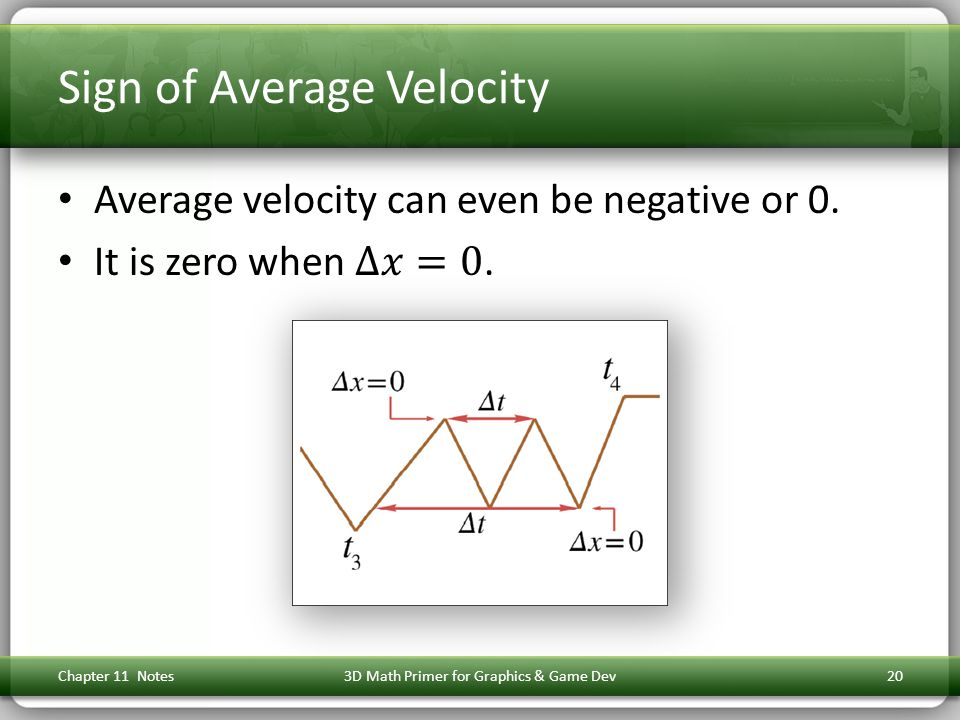 Sign of Average Velocity Chapter 11 Notes3D Math Primer for Graphics & Game Dev20