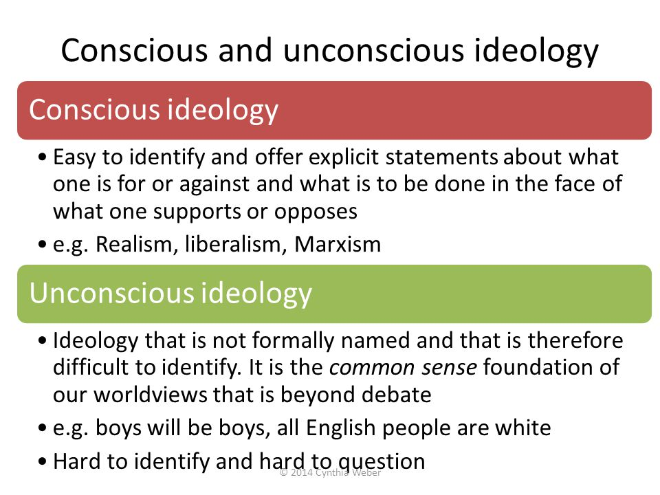 Conscious and unconscious ideology Conscious ideology Easy to identify and offer explicit statements about what one is for or against and what is to be done in the face of what one supports or opposes e.g.