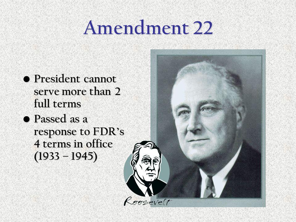 Amendment 21 Repeals the 18 th Amendment ending Prohibition Repeals the 18 th Amendment ending Prohibition Only amendment to do this Only amendment to
