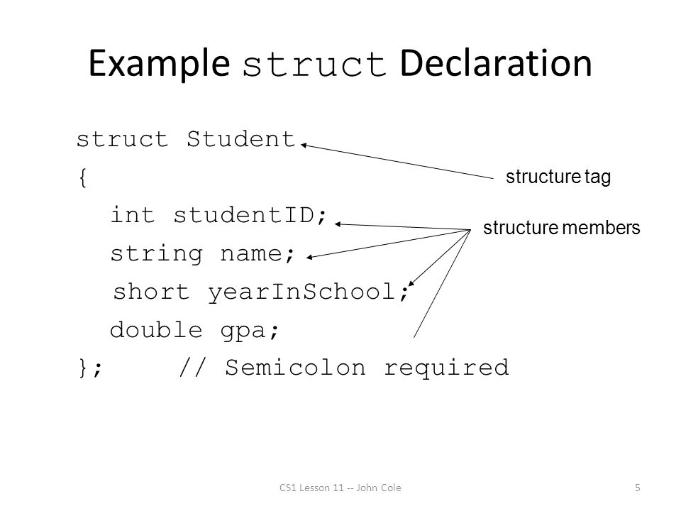 Example struct Declaration CS1 Lesson 11 -- John Cole5 struct Student { int studentID; string name; short yearInSchool; double gpa; };// Semicolon required structure tag structure members