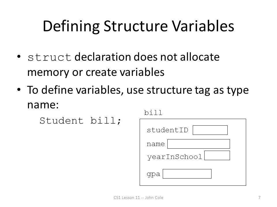 Defining Structure Variables struct declaration does not allocate memory or create variables To define variables, use structure tag as type name: Stud