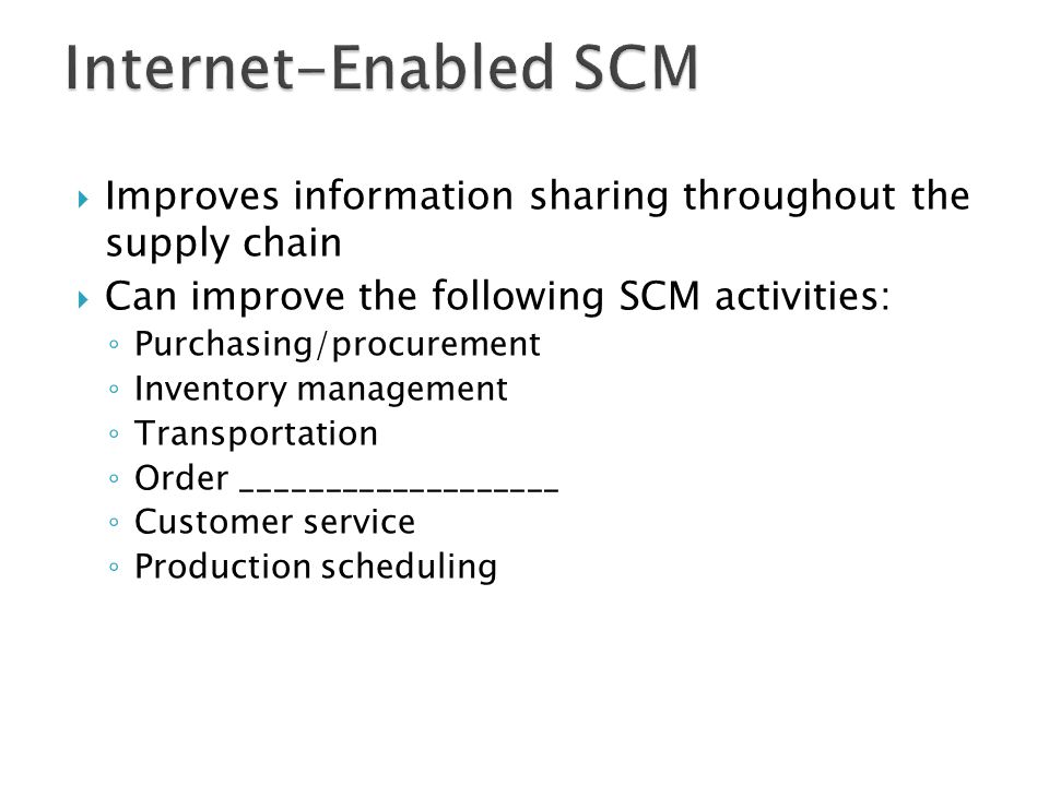  Improves information sharing throughout the supply chain  Can improve the following SCM activities: ◦ Purchasing/procurement ◦ Inventory management