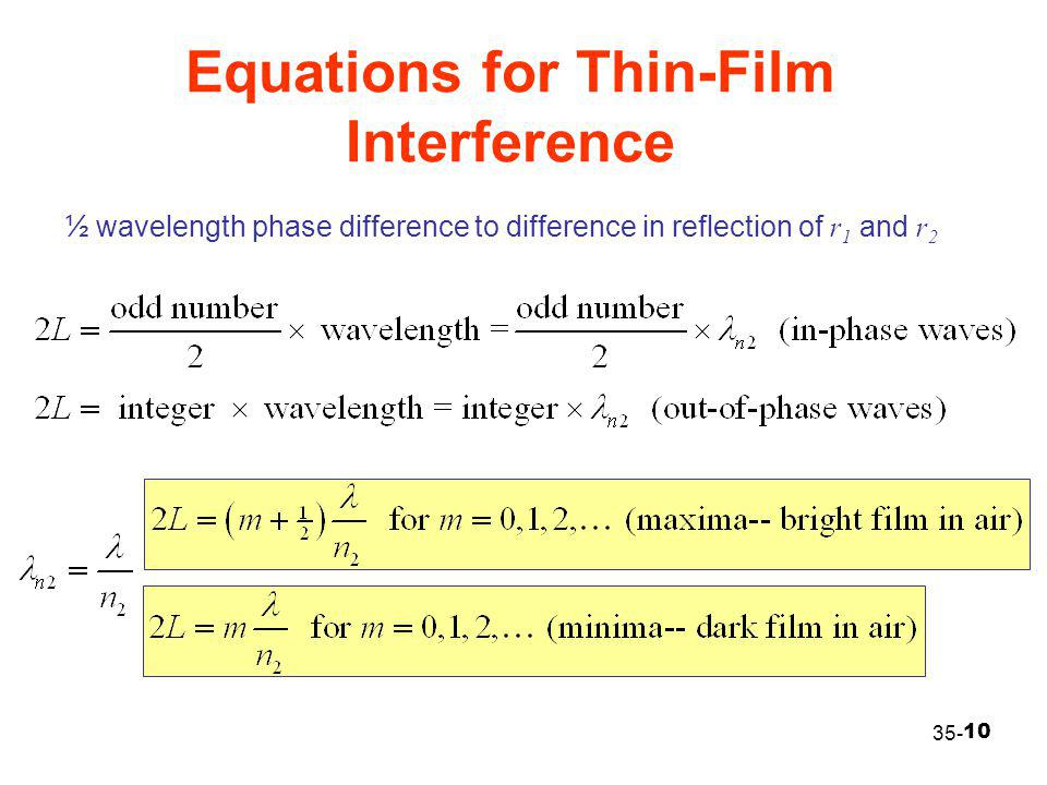 10 Equations for Thin-Film Interference 35- ½ wavelength phase difference to difference in reflection of r 1 and r 2