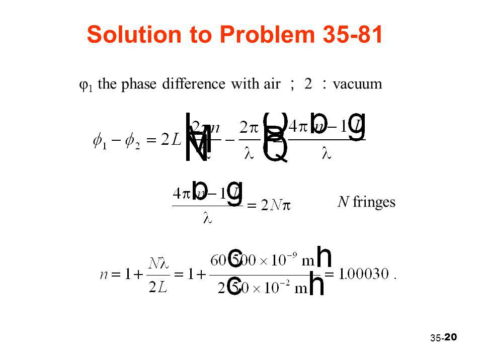 20 Solution to Problem 35-81 35- φ 1 the phase difference with air ; 2 : vacuum N fringes
