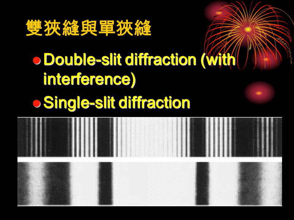 Double-slit diffraction (with interference) Double-slit diffraction (with interference) Single-slit diffraction Single-slit diffraction 雙狹縫與單狹縫