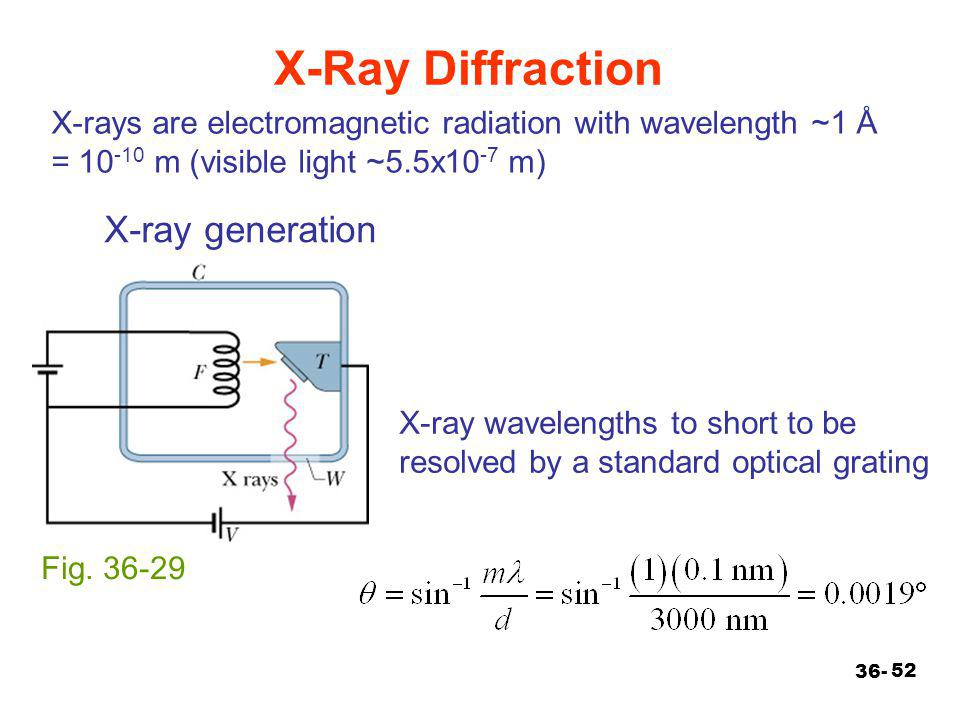 52 X-rays are electromagnetic radiation with wavelength ~1 Å = 10 -10 m (visible light ~5.5x10 -7 m) X-Ray Diffraction 36- Fig. 36-29 X-ray generation