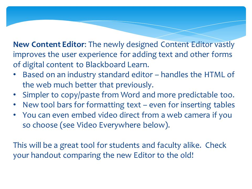 New Video Everywhere – a feature of the Content (text) editor.