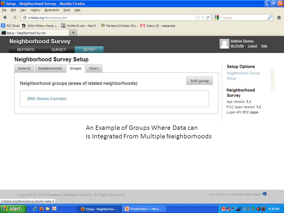 An Example of Groups Where Data can Is Integrated From Multiple Neighborhoods 11/12/2012