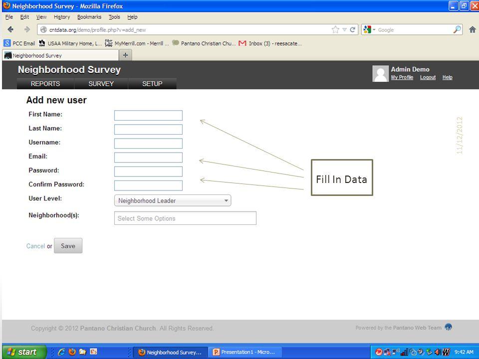 Fill In Data 11/12/2012