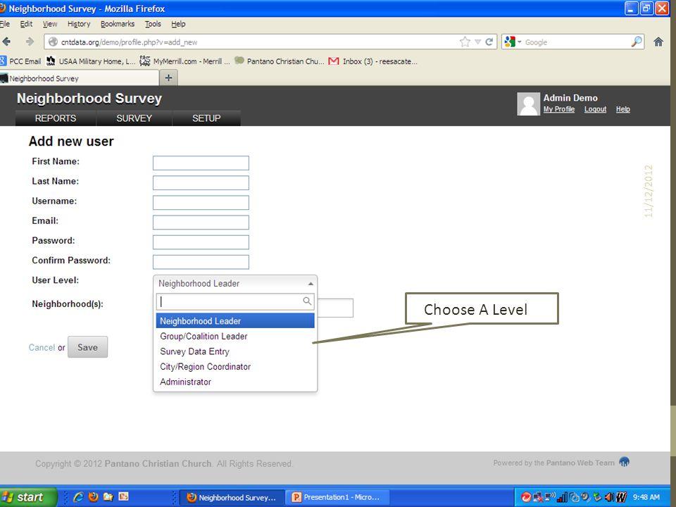 Choose A Level 11/12/2012