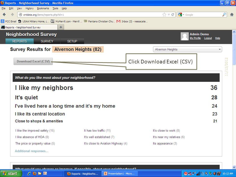Click Download Excel (CSV) 11/12/2012