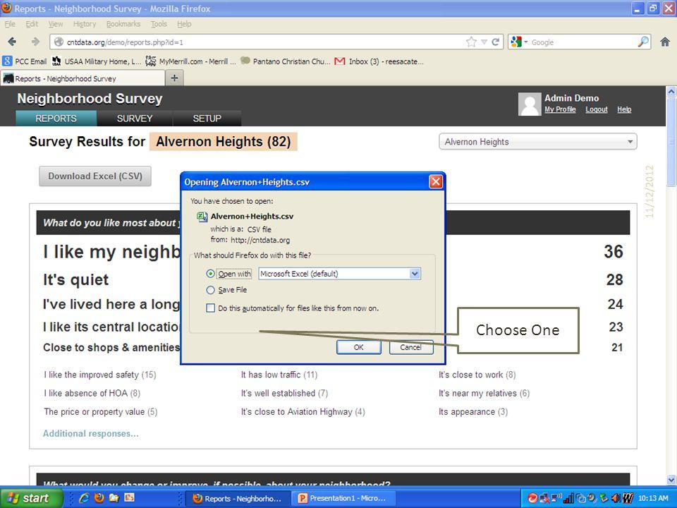 Choose One 11/12/2012