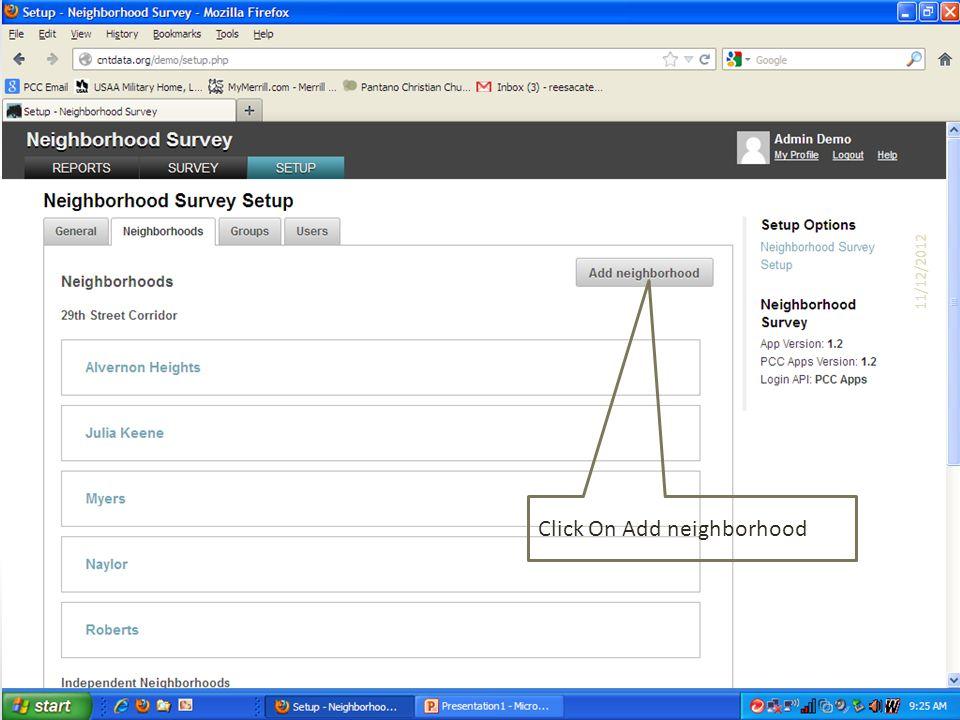 Click On Add neighborhood 11/12/2012