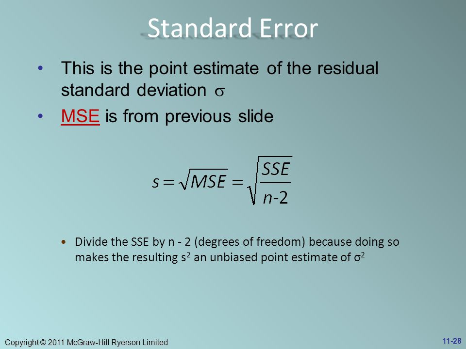 Copyright © 2011 McGraw-Hill Ryerson Limited This is the point estimate of the residual standard deviation  MSE is from previous slideMSE Divide the