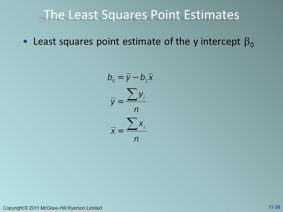 Copyright © 2011 McGraw-Hill Ryerson Limited Least squares point estimate of the y intercept  0 11-36