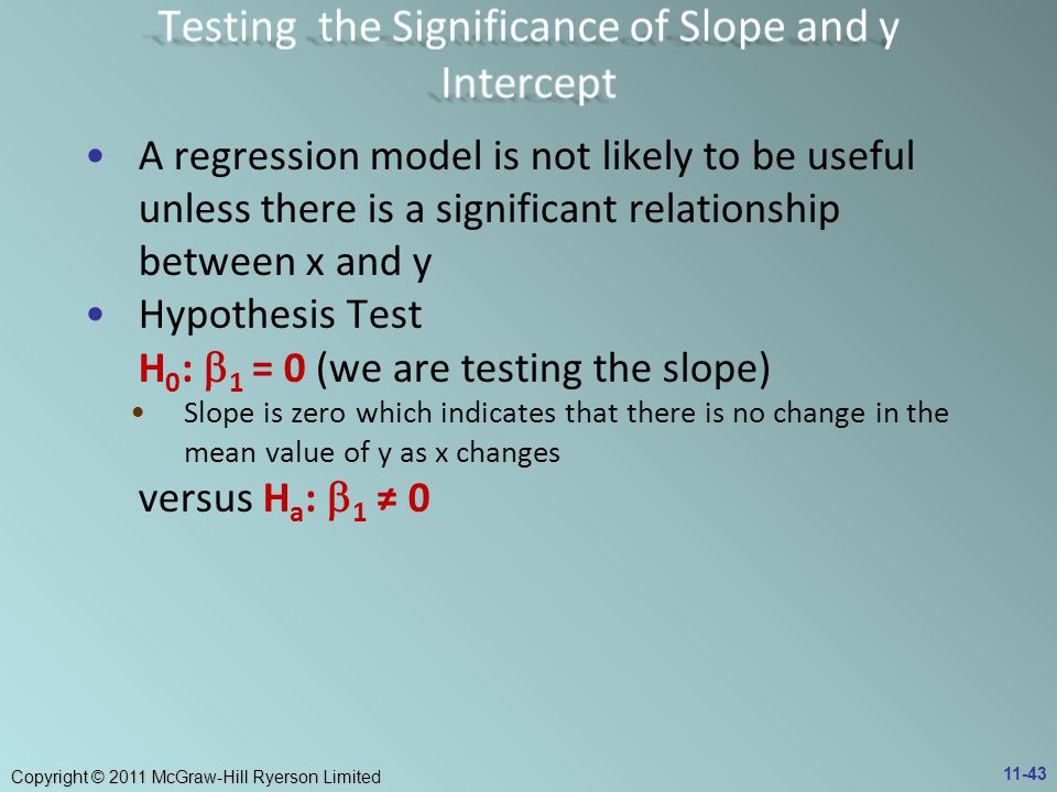 Copyright © 2011 McGraw-Hill Ryerson Limited A regression model is not likely to be useful unless there is a significant relationship between x and y Hypothesis Test H 0 :  1 = 0 (we are testing the slope) Slope is zero which indicates that there is no change in the mean value of y as x changes versus H a :  1 ≠ 0 11-43