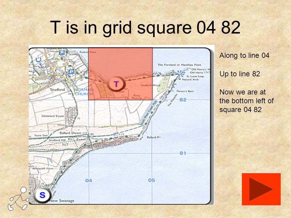 T is in grid square 04 82 Along to line 04 Up to line 82 Now we are at the bottom left of square 04 82