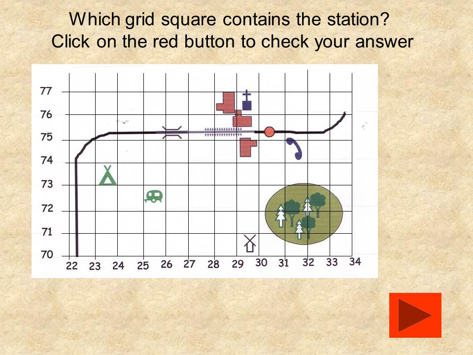 Which grid square contains the station? Click on the red button to check your answer